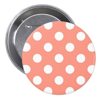 Large retro dots - coral pink and white 3 inch round button