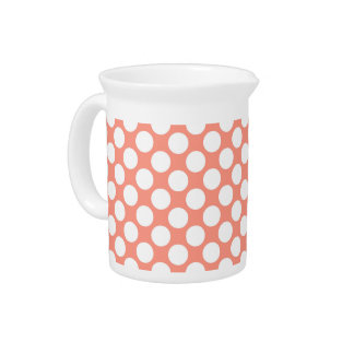 Large retro dots - coral pink and white drink pitcher