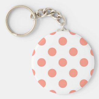 Large retro dots - coral pink and white keychain