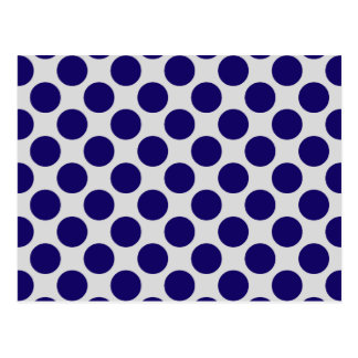 Large retro dots - navy and grey / gray postcard