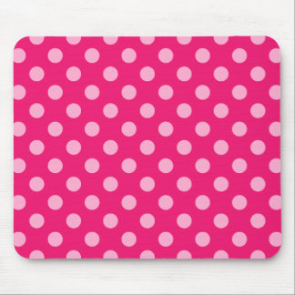 Large retro dots - pink on a hot pink background mouse pad