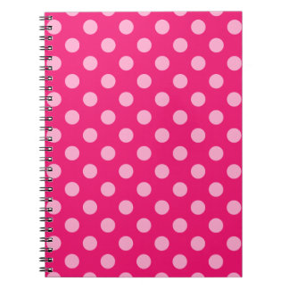 Large retro dots - pink on a hot pink background spiral notebook