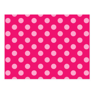 Large retro dots - pink on a hot pink background postcard