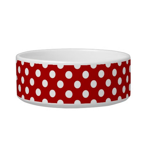 Large retro dots - red and white bowl