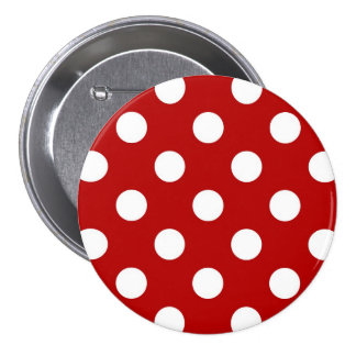 Large retro dots - red and white 3 inch round button