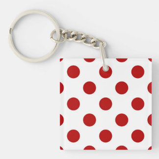 Large retro dots - red and white Double-Sided square acrylic keychain