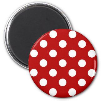 Large retro dots - red and white magnet