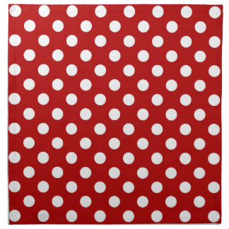 Large retro dots - red and white napkins