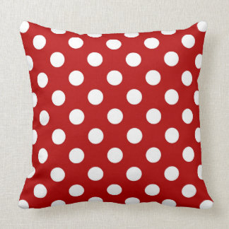 Large retro dots - red and white throw pillow
