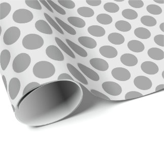 Large retro dots - shades of grey / gray wrapping paper