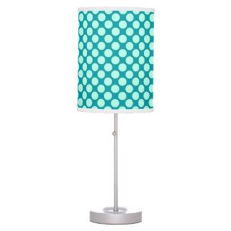 Large retro dots - turquoise and aqua desk lamp