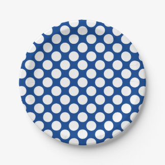 Large retro dots - white and cobalt blue paper plate