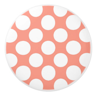 Large retro dots - white and coral pink ceramic knob