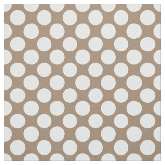 Large retro dots - white and taupe tan fabric