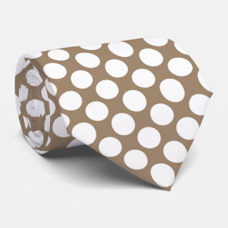 Large retro dots - white and taupe tan neck tie