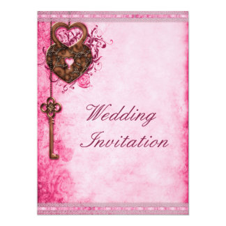Large Romantic Hearts Lock and Key Pink Wedding Card