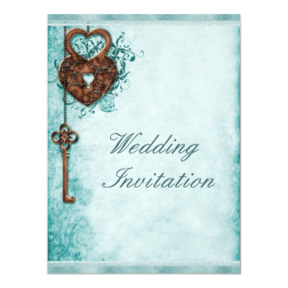 Large Romantic Hearts Lock and Key Teal Wedding Card