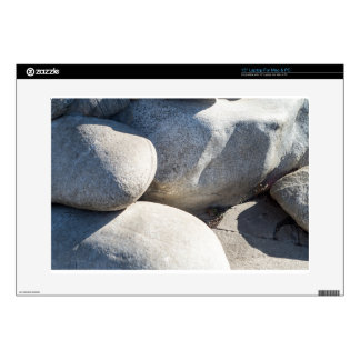 Large round boulders close-up laptop decal