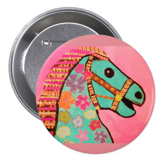 Large Round Button with Carousel Horse 3 Inch Round Button