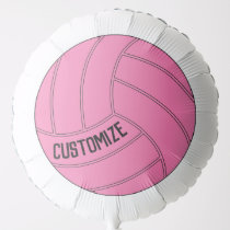 Large Round Pink Volleyball Custom Text Balloon