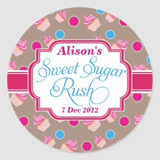 large Round Sweet Sugar Rush Cute Cupcake Stickers