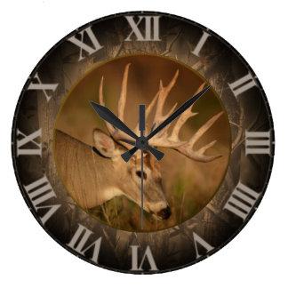 Large Round White Tail Buck Clock