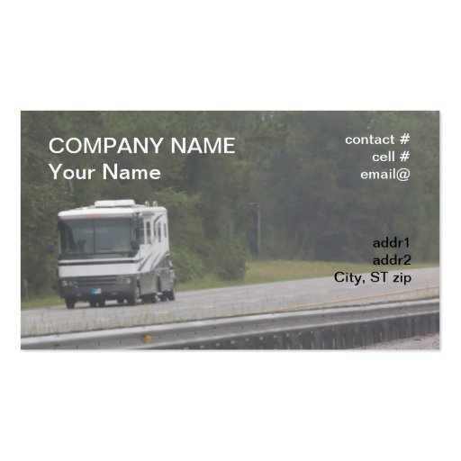 large RV traveling on interstate Business Card Template