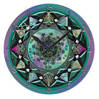 Large Sage Celtic Mystical Mandala Wall Clock
