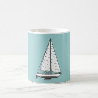 Large Sailboat-Black & White Coffee Mug