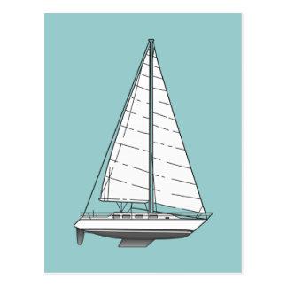 Large Sailboat-Black & White Postcard