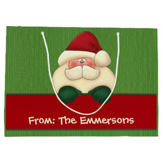LARGE Santa Green and Red |Custom Name Gift Bag Large Gift Bag