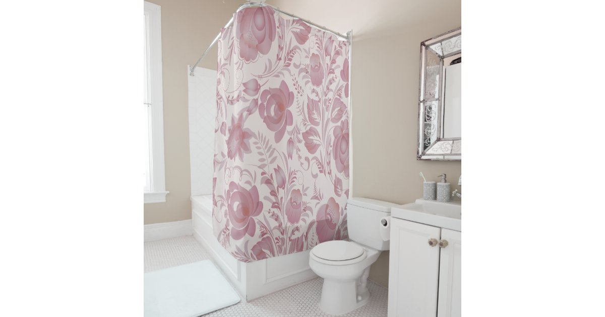 Large Scale Almost Mauve And Roses Shower Curtain