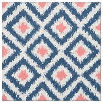 Large Scale Blue Coral Ikat Diamonds Pattern Fabric