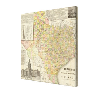 Large Scale County and Railroad Map Of Texas Canvas Print