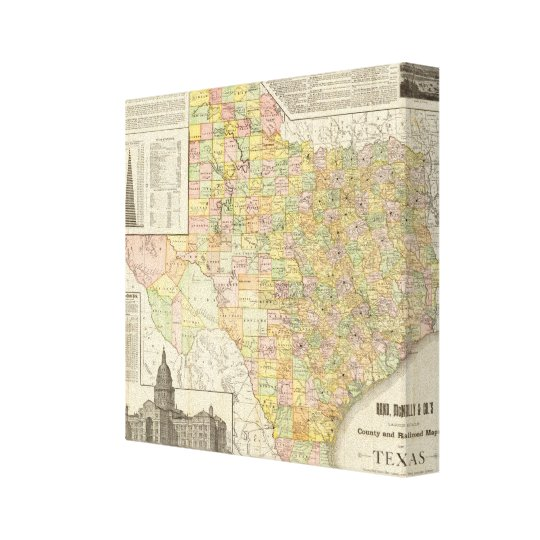 Railroad Map Of Texas.Large Scale County And Railroad Map Of Texas Canvas Print