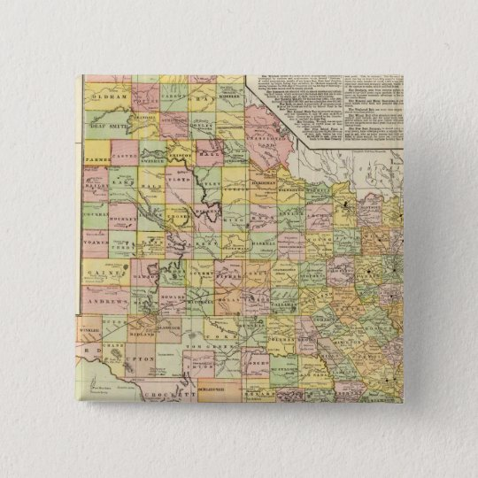 Large Scale County and Railroad Map Of Texas Pinback Button