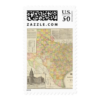 Large Scale County and Railroad Map Of Texas Postage
