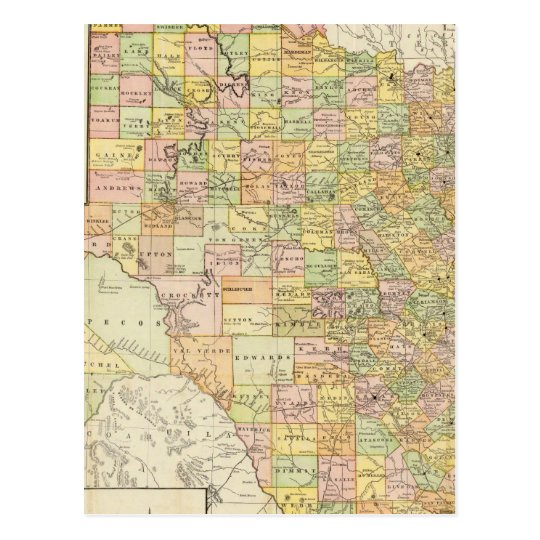 Large Scale County and Railroad Map Of Texas Postcard
