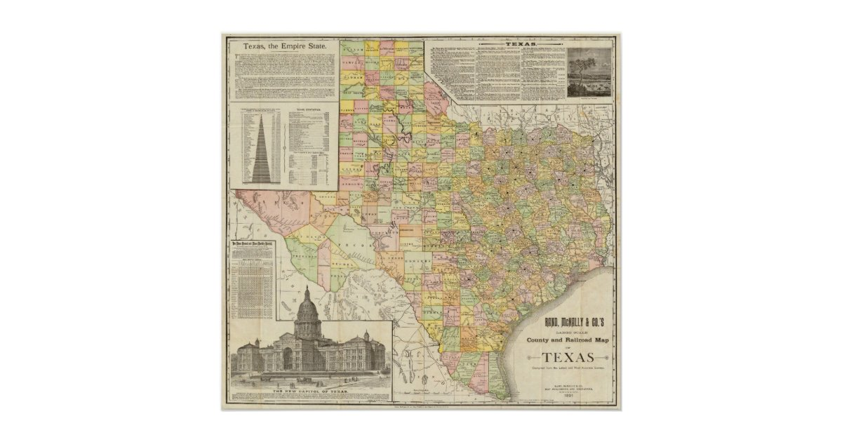Railroad Map Of Texas.Large Scale County And Railroad Map Of Texas Poster Zazzle Com