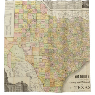 Large Scale County and Railroad Map Of Texas Shower Curtain
