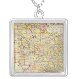 Large Scale County and Railroad Map Of Texas Silver Plated Necklace
