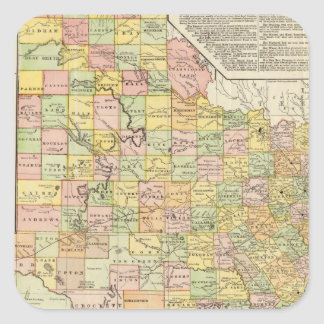 Large Scale County and Railroad Map Of Texas Square Sticker