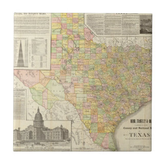 Large Scale County and Railroad Map Of Texas Tile