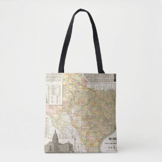 Large Scale County and Railroad Map Of Texas Tote Bag