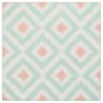 Large Scale Mint Coral Ikat Diamonds Pattern Fabric