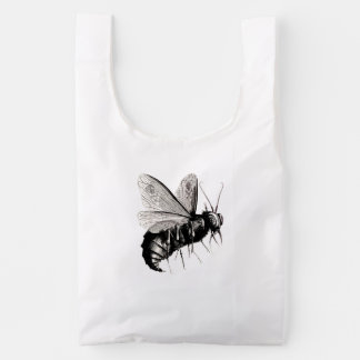 Large Scary Bee Bug with Skull Wings Reusable Bag