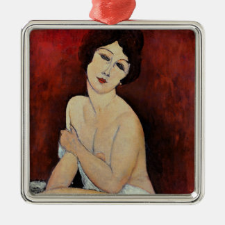 Large Seated Nude (oil on canvas) Silver-Colored Square Ornament