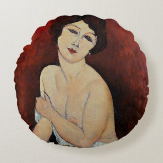 Large Seated Nude (oil on canvas) Round Pillow