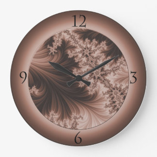Large Sepia Fractal Clock with Numbers