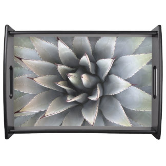 Large Serving Tray, Black - Agave Succulent Serving Tray